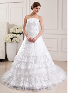 Corte de baile Estrapless La capilla de tren Organdí Encaje Vestido de novia con Bordado Plisado