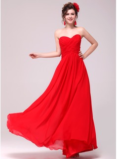 A-Line/Princess Sweetheart Floor-Length Chiffon Evening Dress With Ruffle (017014006)