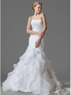 Mermaid One-Shoulder Court Train Organza Satin Wedding Dress With Ruffle Beadwork Flower(s) (002004150)