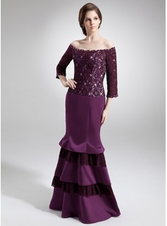 Mermaid Off-the-Shoulder Floor-Length Satin Lace Mother of the Bride Dress With Beading (008006094)