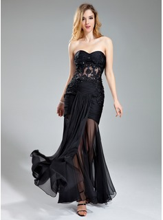 Trumpet/Mermaid Sweetheart Floor-Length Chiffon Evening Dress With Ruffle Lace Beading