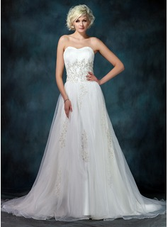 A-Line/Princess Sweetheart Court Train Organza Satin Wedding Dress With Lace Beadwork Sequins (002022594)