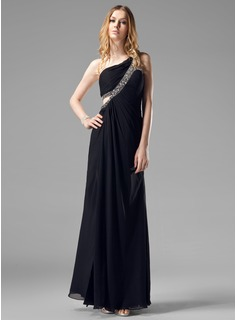 Sheath/Column One-Shoulder Floor-Length Chiffon Evening Dress With Ruffle Beading Split Front