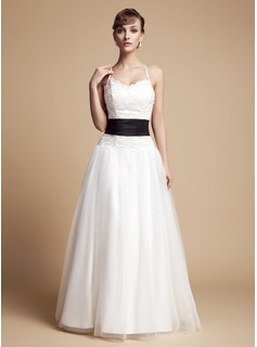 A-Line/Princess V-neck Floor-Length Taffeta Tulle Wedding Dress With Ruffle Lace Sash Beading Bow(s)