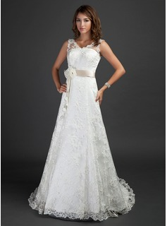A-Line/Princess V-neck Court Train Satin Lace Wedding Dress With Sash Beading Flower