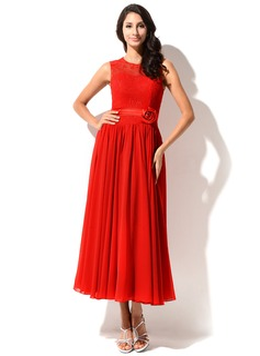 A-Line/Princess Tea-Length Chiffon Charmeuse Lace Homecoming Dress With Beading Flower(s)