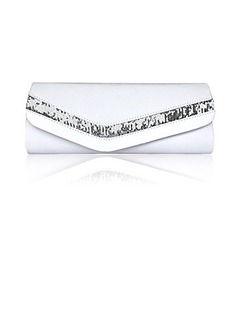 (White)Gorgeous Satin/ Silk Shell With Beading Evening Handbags/ Clutches  (012013551)