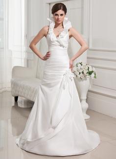 Corte A/Princesa Cabestro Barrer/Cepillo tren Tafetán Vestido de novia con Flores Cascada de volantes