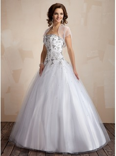 Ball-Gown Sweetheart Floor-Length Tulle Quinceanera Dress With Embroidered (021004553)