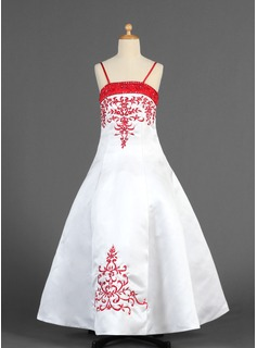 A-Line/Princess Floor-Length Satin Flower Girl Dress With Embroidered Sash Beading (010005773)