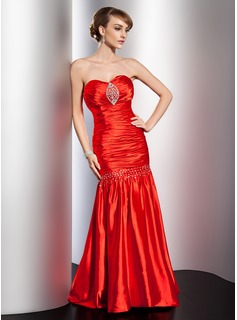 Mermaid Sweetheart Floor-Length Charmeuse Evening Dress With Ruffle Beading Sequins