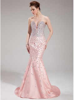 Mermaid Sweetheart Court Train Taffeta Evening Dress With Beading (017019552)