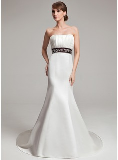 Trumpet/Mermaid Sweetheart Court Train Satin Wedding Dress With Embroidery Ruffle Sash