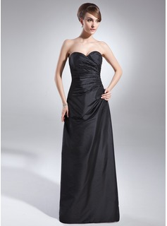 Sheath Sweetheart Floor-Length Taffeta Bridesmaid Dress With Ruffle Beading (007001051)