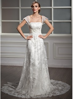 Sheath/Column Square Neckline Court Train Satin Lace Wedding Dress With Ruffle Beadwork Sequins (002004755)