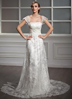 Corte A/Princesa Escote Cuadrado Cola corte Satén Encaje Vestido de novia con Volantes Bordado Lentejuelas