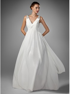 A-Line/Princess V-neck Floor-Length Chiffon Wedding Dress With Ruffle Beadwork (002005176)
