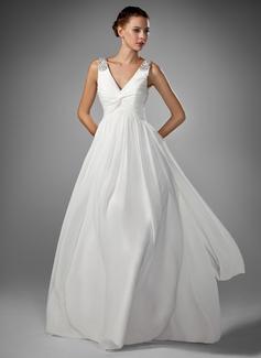 Corte A/Princesa Escote en V Hasta el suelo Chifón Vestido de novia con Volantes Bordado