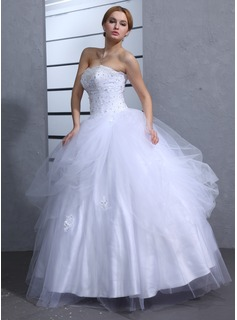 Ball-Gown Sweetheart Floor-Length Satin Tulle Wedding Dress With Ruffle Lace Beadwork Sequins (002011964)