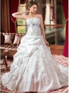 Ball-Gown Strapless Cathedral Train Taffeta Organza Wedding Dress With Embroidery Ruffle Sashes Beadwork Sequins (002004589)