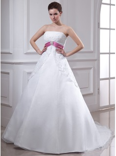 Empire Strapless Chapel Train Organza Satin Lace Wedding Dress With Sashes Crystal Brooch