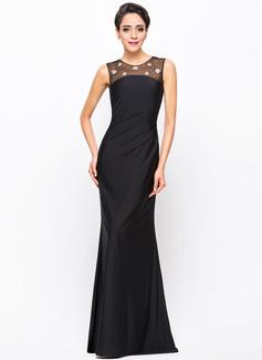 Trumpet/Mermaid Scoop Neck Floor-Length Tulle Jersey Evening Dress With Beading Sequins