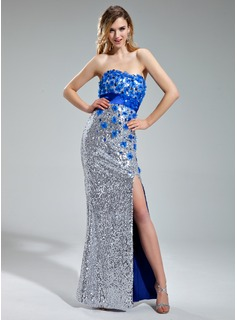 Sheath Sweetheart Floor-Length Charmeuse Sequined Prom Dress With Beading Flower(s)