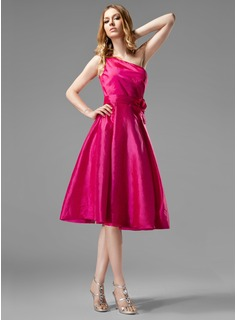 A-Line/Princess One-Shoulder Knee-Length Taffeta Bridesmaid Dress With Ruffle Flower(s) (007004124)