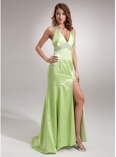 A-Line/Princess Halter Sweep Train Charmeuse Evening Dress With Ruffle Beading Sequins (017005605)