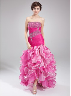 Mermaid Strapless Asymmetrical Organza Prom Dress With Ruffle Beading