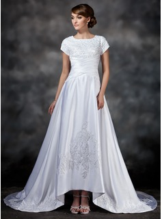 A-Line/Princess Square Neckline Asymmetrical Satin Wedding Dress With Ruffle Lace Beadwork (002017418)