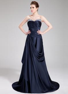 A-Line/Princess Sweetheart Sweep Train Charmeuse Evening Dress With Ruffle Beading