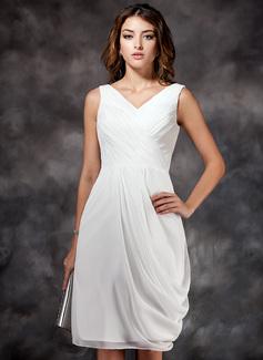 Vestido tubo Escote en V Hasta la rodilla Chifón Dama de honor con Volantes