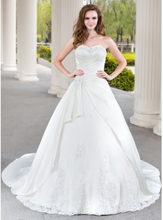 Ball-Gown Sweetheart Chapel Train Satin Tulle Wedding Dress With Ruffle Lace Beadwork