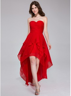 A-Line/Princess Sweetheart Asymmetrical Chiffon Holiday Dress With Ruffle