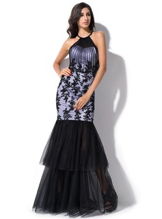 Trumpet/Mermaid Scoop Neck Floor-Length Tulle Evening Dress With Ruffle Beading Appliques Lace Sequins