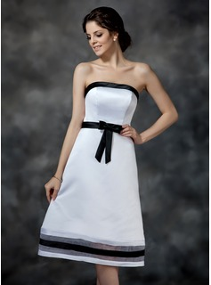 A-Line/Princess Strapless Tea-Length Organza Satin Bridesmaid Dress With Sash (007000903)