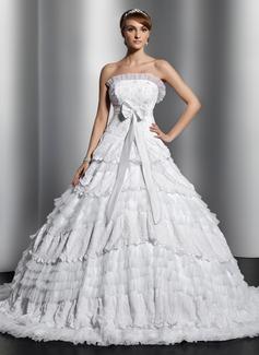 Corte de baile Estrapless Cola capilla Satén Tul Encaje Vestido de novia con Bordado Lazo(s) Plisado