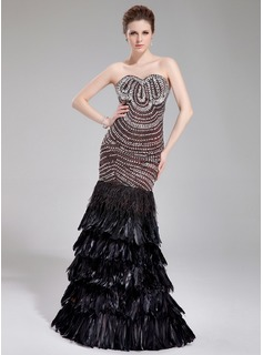 Trumpet/Mermaid Sweetheart Floor-Length Satin Feather Evening Dress With Beading
