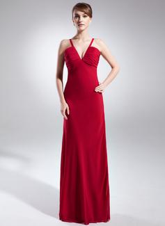 Sheath/Column V-neck Floor-Length Chiffon Evening Dress With Ruffle
