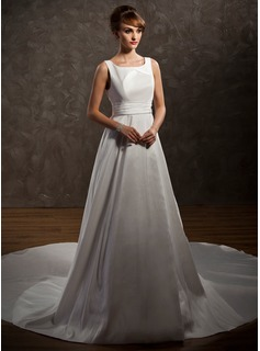 A-Line/Princess Scoop Neck Chapel Train Taffeta Wedding Dress With Ruffle (002011646)