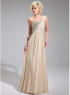 Sheath One-Shoulder Floor-Length Chiffon Sequined Evening Dress With Ruffle (017019740)