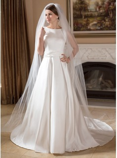 A-Line/Princess Scoop Neck Court Train Satin Wedding Dress With Beadwork (002011715)