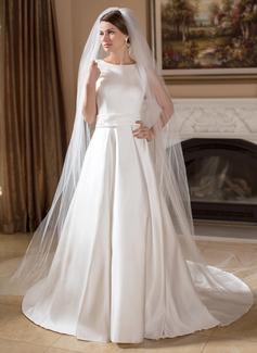 Corte A/Princesa Escote redondo Cola capilla Satén Vestido de novia con Bordado