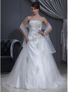 Ball-Gown Sweetheart Court Train Tulle Charmeuse Wedding Dress With Ruffle Lace Beadwork (002000280)