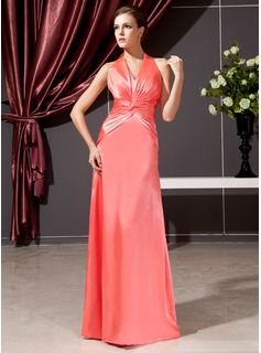 Sheath Halter Floor-Length Charmeuse Kate Middleton Style With Ruffle (044020784)