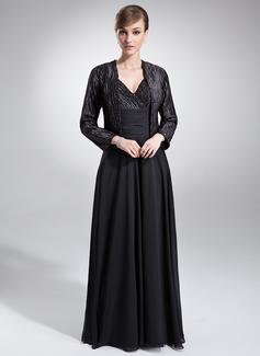Vestidos princesa/ Formato A Decote V Longos De chiffon Charmeuse Vestido para a mãe da noiva com Pregueado Bordado