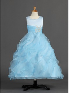 A-Line/Princess Scoop Neck Ankle-Length Organza Satin Flower Girl Dress With Ruffle Beading