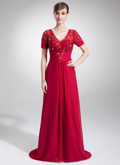 Vestidos princesa/ Formato A Decote V Cauda de sereia De chiffon Renda Vestido para a mãe da noiva com Pregueado Bordado
