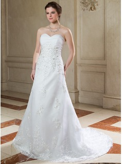 A-Line/Princess Sweetheart Court Train Organza Wedding Dress With Ruffle Lace Beading Sequins